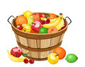 Wooden Basket With Various Fru...