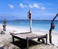 Wooden beach lounger on the beach Stock Photos
