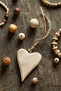Wooden beads and accessories on a table Stock Photography