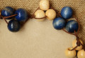 Wooden beads with card on canvas background Stock Images