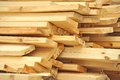 Wooden beam fresh stacked at construction site Stock Photos