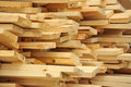Wooden beam fresh stacked at construction site Stock Image