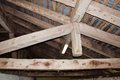 Wooden beams structure for constructions in the mountains in italy Royalty Free Stock Images