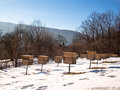 Wooden beehives are rows of mountains Stock Image