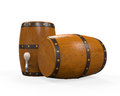 Wooden beer cask isolated on white background d render Stock Photography