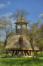 Wooden bell tower wit thatch old in hungary Stock Photography
