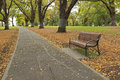 Wooden bench along the path with fallen leaves at flagstaff gard a gardens oldest park in melbourne victoria australia during Royalty Free Stock Photography