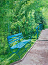 Wooden bench beneath green trellises a sits along the pathway to the water lily pond at giverny monet s france estate in an Royalty Free Stock Photos