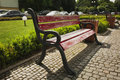 Wooden bench in the central park of Uzhgorod Royalty Free Stock Photo