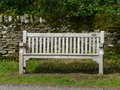 Wooden bench commemorating diamond jubilee in blanchland northumberland Royalty Free Stock Photography