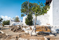 Wooden bench and green tree near walls of Tsampika church at Rhodes island, Greece Royalty Free Stock Photo