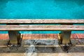 Wooden bench next to pool closeup shot sodwana bay kwazulu natal province southern mozambique area south africa Stock Photos