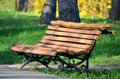 Wooden bench in the park with blurred trees in the background Royalty Free Stock Photo