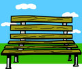 Wooden bench in a park vector illustration Royalty Free Stock Photography