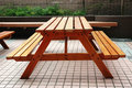 Wooden Bench and Table Royalty Free Stock Photography