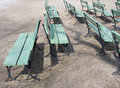 Wooden Benches, a different point of view Royalty Free Stock Photo
