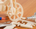Wooden bicycle toy - woodcraft construction kit Stock Photos