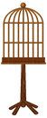 Wooden bird cage on stand