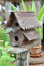 Wooden bird houses in the garden