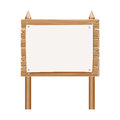 Wooden blank sign board with paper isolated on white
