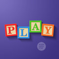 Wooden blocks arranged in the word play illustration Stock Images