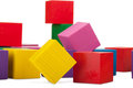 Wooden blocks stack of colorful cubes childrens toy isolated on white background Stock Image