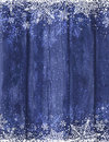 Wooden blue christmas background with snowflakes, vector Royalty Free Stock Photo