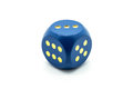 Wooden Blue Dice on White Background Royalty Free Stock Photo