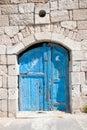 Wooden blue door in Madaba Royalty Free Stock Photo