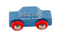 Wooden blue vintage toy car isolated on white Royalty Free Stock Photo