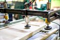 Wooden board assembly at wood factory and furniture Stock Photography