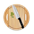 Wooden board with knife and parsley Royalty Free Stock Photos