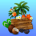Wooden board on tropical background