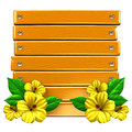 Wooden board with yellow hibiscuses d render illustration isolated on white Royalty Free Stock Photos