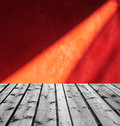 Wooden boards and red marble with light reflection Royalty Free Stock Photos