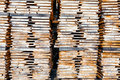 Wooden boards stack of at the lumber yard Royalty Free Stock Image