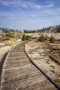 Wooden boardwalk through upper geyser basin yellowstone national park wyoming Stock Image