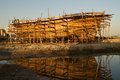 Wooden boat under construction Royalty Free Stock Photo