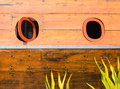 Wooden boat window on wood Stock Photography