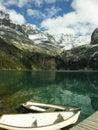 Wooden boats at lake o hara yoho national park canada british columbia Royalty Free Stock Images