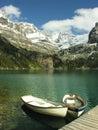 Wooden boats at lake o hara yoho national park canada british columbia Stock Image