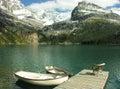 Wooden boats at lake o hara yoho national park canada british columbia Royalty Free Stock Photo