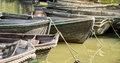 Wooden boats on a river Royalty Free Stock Photo