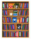 Wooden bookshelf with lot of color books Stock Photography