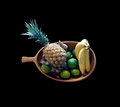 A wooden bowl filled with fruit picture of tropical on bequia in the windward islands Stock Images