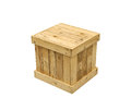 Wooden box export pallet shipping cube isolated Royalty Free Stock Photo