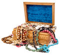 Wooden box with jewels Stock Photos
