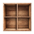 Wooden box shelf or crate isolated on white Royalty Free Stock Photography