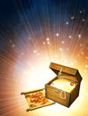 Wooden box with treasures and pirate map Stock Image