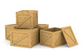 Wooden boxes d image on white Stock Photos